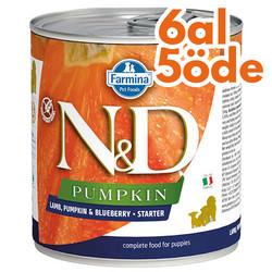 N&D (Naturel&Delicious) - ND 2956 Starter Pumpkin Balkabaklı Kuzu Yaban Mersini Yavru Köpek Konservesi 285 Gr - 6 Al 5 Öde