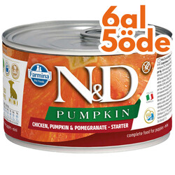 N&D (Naturel&Delicious) - ND 5759 Starter Mini Balkabak, Tavuk, Nar Yavru Başlangıç Köpek Konservesi 140 Gr - 6 Al 5 Öde