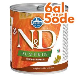 N&D (Naturel&Delicious) - ND Balkabaklı ve Geyik Etli Köpek Konservesi 285 Gr - 6 Al 5 Öde