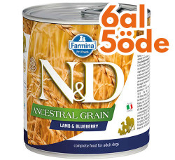 N&D (Naturel&Delicious) - N&D Düşük Tahıl Kuzu Etli ve Yaban Mersinli Köpek Konservesi 285 Gr - 6 Al 5 Öde