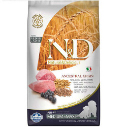 N&D (Naturel&Delicious) - ND Düşük Tahıl Kuzu Yaban Mersini Orta ve Büyük Irk Yavru Köpek Maması 12 Kg