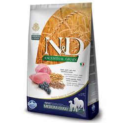 N&D (Naturel&Delicious) - ND Düşük Tahıl Orta ve Büyük Irk Kuzu Yaban Mersini Köpek Maması 12 Kg+10 Adet Temizlik Mendili
