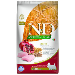 N&D (Naturel&Delicious) - ND Düşük Tahıl Mini Light Küçük Irk Tavuk Nar Köpek Maması 2,5 Kg+5 Adet Temizlik Mendili