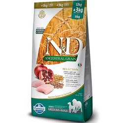 N&D (Naturel&Delicious) - ND Düşük Tahıl Tavuk Nar Orta ve Büyük Irk Köpek Maması 12 + 3 Kg ( Toplam 15 Kg )
