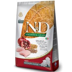 N&D (Naturel&Delicious) - ND Düşük Tahıl Tavuk Nar Orta ve Büyük Irk Yavru Köpek Maması 12 Kg + 10 Adet Temizlik Mendili