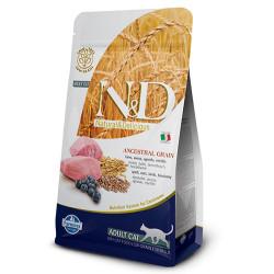 N&D (Naturel&Delicious) - ND Düşük Tahıllı Kuzu Yaban Mersini Kedi Maması 5 Kg + 5 Adet Temizlik Mendili