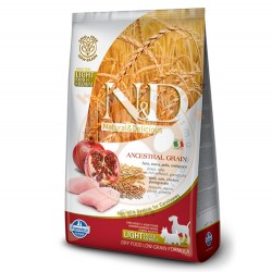 N&D (Naturel&Delicious) - ND Düşük Tahıl Light Orta ve Büyük Irk Tavuk Nar Köpek Maması 2,5 Kg+5 Adet Temizlik Mendili