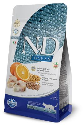 ND Ocean Düşük Tahıllı Morina Balığı Portakal Kedi Maması 1,5 Kg+5 Adet Temizlik Mendili