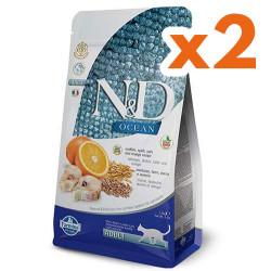 N&D (Naturel&Delicious) - ND Ocean Düşük Tahıllı Morina Balığı Portakal Kedi Maması 1,5 Kgx2 Adet