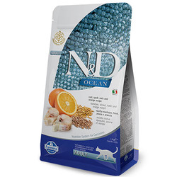N&D (Naturel&Delicious) - ND Ocean Düşük Tahıllı Morina Balığı Portakal Kedi Maması 5 Kg+5 Adet Temizlik Mendili