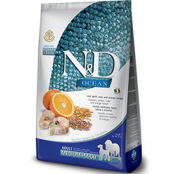 N&D (Naturel&Delicious) - ND Düşük Tahıllı Balık Portakal Orta ve Büyük Irk Köpek Maması 2,5 Kg+5 Adet Temizlik Mendili