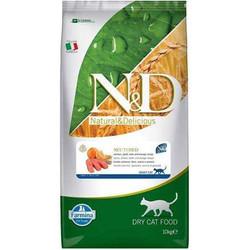 N&D (Naturel&Delicious) - ND Düşük Tahıllı Somonlu Kısırlaştırılmış Kedi Maması 10 Kg+10 Adet Temizlik Mendili