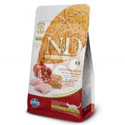 N&D (Naturel&Delicious) - ND Düşük Tahıllı Tavuk Nar Kısırlaştırılmış Kedi Maması 1,5 Kg + 5 Adet Temizlik Mendili