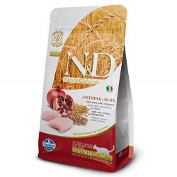 N&D (Naturel&Delicious) - ND Düşük Tahıllı Tavuk Nar Kısırlaştırılmış Kedi Maması 5 Kg + 5 Adet Temizlik Mendili