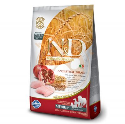 ND Düşük Tahıllı Tavuk Nar Orta ve Büyük Irk Köpek Maması 2,5 Kg + 5 Adet Temizlik Mendili