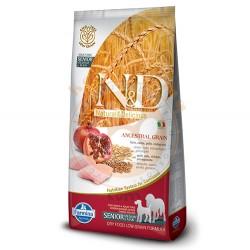 N&D (Naturel&Delicious) - ND Düşük Tahıl Orta ve Büyük Irk Tavuk Narlı Yaşlı Köpek Maması 12 Kg+10 Adet Mendil
