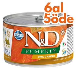 N&D (Naturel&Delicious) - ND Mini Balkabaklı ve Bıldırcın Etli Köpek Konservesi 140 Gr - 6 Al 5 Öde