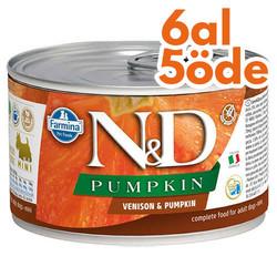 N&D (Naturel&Delicious) - ND Mini Balkabaklı ve Geyik Etli Köpek Konservesi 140 Gr - 6 Al 5 Öde