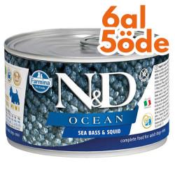 N&D (Naturel&Delicious) - ND Mini Ocean Levrek ve Mürekkep Balığı Köpek Konservesi 140 Gr - 6 Al 5 Öde
