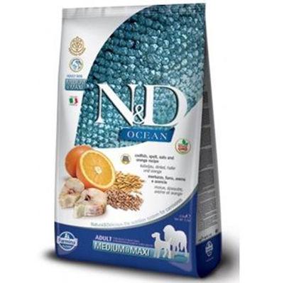 ND Ocean Düşük Tahıllı Balık Portakal Orta ve Büyük Irk Köpek Maması 12 Kg + 10 Adet Temizlik Mendili