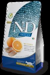 N&D (Naturel&Delicious) - ND Ocean Neutered Tahılsız Balık Portakal Kısırlaştırılmış Kedi Maması 1,5 Kg + 5 Adet Temizlik Mendili