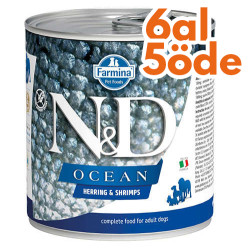 N&D (Naturel&Delicious) - ND Ocean Ringa Balıklı ve Karidesli Köpek Konservesi 285 Gr - 6 Al 5 Öde