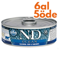 N&D (Naturel&Delicious) - N&D Ocean Somon, Morina Balıkğı ve Karides Kedi Konservesi 80 Gr - 6 Al 5 Öde