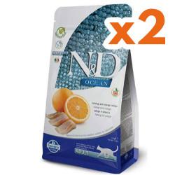 N&D (Naturel&Delicious) - ND Ocean Tahılsız Balık Portakal Kedi Maması 1,5 Kgx2 Adet