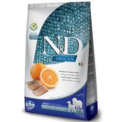 N&D (Naturel&Delicious) - ND Ocean Tahılsız Balık Portakal Orta ve Büyük Irk Köpek Maması 12 Kg+10 Adet Temizlik Mendili