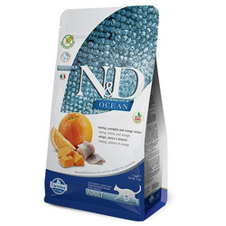 N&D (Naturel&Delicious) - ND Ocean Tahılsız Balık Portakal ve Balkabaklı Kedi Maması 1,5 Kg + 5 Adet Temizlik Mendili