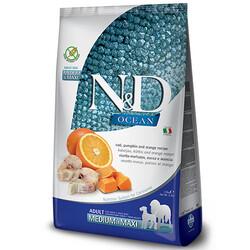 N&D (Naturel&Delicious) - ND Ocean Tahılsız Balkabaklı Balıklı Medium Maxi Köpek Maması 12 Kg + 10 Adet Temizlik Mendili