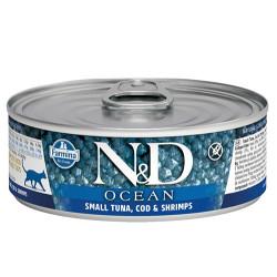 N&D (Naturel&Delicious) - N&D Ocean Ton, Morina Balıklı ve Karidesli Kedi Konservesi 80 Gr