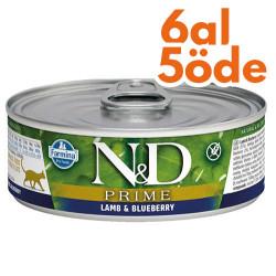 N&D (Naturel&Delicious) - ND Prime Kuzu Etli ve Yaban Mersinli Kedi Konservesi 80 Gr - 6 Al 5 Öde