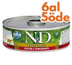 N&D (Naturel&Delicious) - ND Prime Tavuk Etli ve Narlı Kedi Konservesi 80 Gr - 6 Al 5 Öde