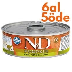 N&D (Naturel&Delicious) - ND Pumpkin Balkabaklı ve Yaban Domuzlu Kedi Konservesi 80 Gr - 6 Al 5 Öde