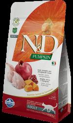 N&D (Naturel&Delicious) - ND Tahılsız Bıldırcın Nar ve Balkabaklı Kedi Maması 1,5 Kg+5 Adet Temizlik Mendili