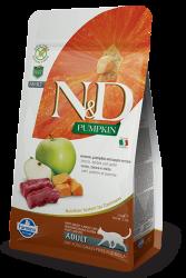 N&D (Naturel&Delicious) - ND Tahılsız Geyikli Bal Kabaklı ve Elmalı Kedi Maması 1,5 Kg+5 Adet Temizlik Mendili