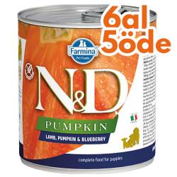 N&D (Naturel&Delicious) - ND Puppy Balkabak Kuzu Etli ve Yaban Mersini Yavru Köpek Kons. 285 Gr - 6 Al 5 Öde
