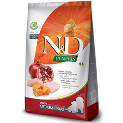 N&D (Naturel&Delicious) - ND Puppy Tahılsız Balkabak Tavuk Medium Maxi Yavru Köpek Maması 2,5 Kg + 5 Adet Temizlik Mendili