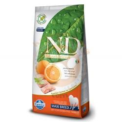 N&D (Naturel&Delicious) - ND Tahılsız Balık Portakal Büyük Irk Köpek Maması 12 Kg+10 Adet Mendil