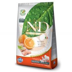 N&D (Naturel&Delicious) - ND Tahılsız Balık Portakal Orta Irk Yetişkin Köpek Maması 12 Kg+10 Adet Temizlik Mendil