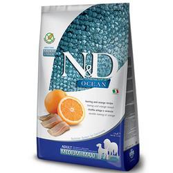 N&D (Naturel&Delicious) - ND Ocean Tahılsız Balık Portakal Orta ve Büyük Irk Köpek Maması 2,5 Kg+5 Adet Temizlik Mendili