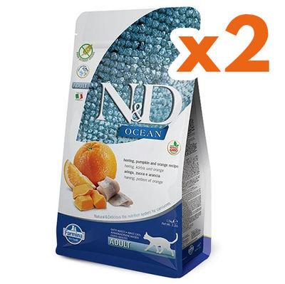ND Ocean Tahılsız Balık Portakal ve Balkabaklı Kedi Maması 1,5 Kgx2 Adet