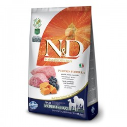 N&D (Naturel&Delicious) - N&D Tahılsız Balkabaklı Kuzu Medium Maxi Köpek Maması 2,5 Kg+5 Adet Temizlik Mendili