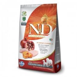 N&D (Naturel&Delicious) - N&D Tahılsız Balkabaklı Tavuk Medium Maxi Köpek Maması 12 Kg+10 Adet Mendil