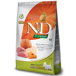 N&D (Naturel&Delicious) - ND Tahılsız Balkabaklı Yaban Domuzu Küçük Irk Köpek Maması 7 Kg + 10 Adet Temizlik Mendili