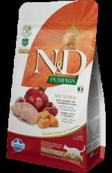 N&D (Naturel&Delicious) - ND Tahılsız Bıldırcın Nar Kısırlaştırılmış Kedi Maması 1,5 Kg + 5 Adet Temizlik Mendili