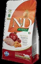 N&D (Naturel&Delicious) - ND Tahılsız Bıldırcın Nar Kısırlaştırılmış Kedi Maması 5 Kg+5 Adet Temizlik Mendili