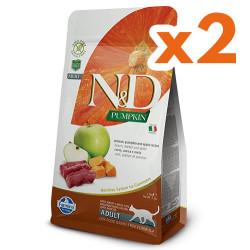 N&D (Naturel&Delicious) - N&D Tahılsız Geyikli Bal Kabaklı ve Elmalı Kedi Maması 1,5 Kgx2 Adet