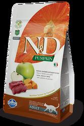N&D (Naturel&Delicious) - ND Tahılsız Geyikli Bal Kabaklı ve Elmalı Kedi Maması 5 Kg+5 Adet Temizlik Mendili